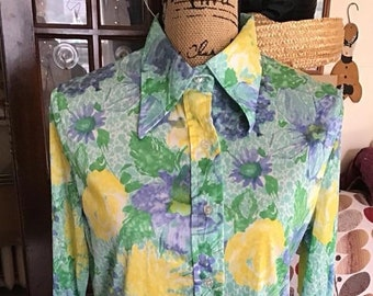 867b134bcfc69f Vintage 1970s Blouse Shirt Top Light Blue Green Yellow Acetate Nylon Disco  Style *JCPenney Fashions* Long Sleeves
