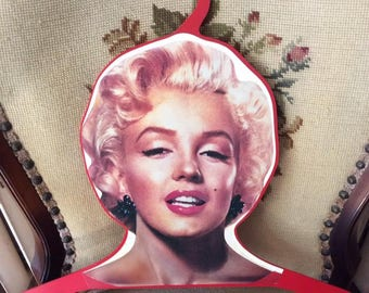 Vintage 1980s Hanger Marilyn Monroe Actress Decorative Wall Decor Made Of Red Plastic