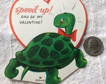 Vintage 1960s 1970s Valentine Card Green Turtle Theme Hallmark Cards Company Collectible Paper Ephemera Art Crafts Scrap Booking