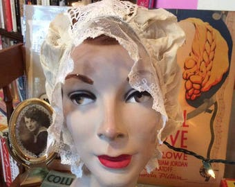 Vintage 1920s Bed Cap Hat Silk Lace And Crochet Like Style Off White Color Ladies Bed Cap
