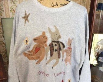 Vintage 1990s Sweatshirt Timeless Treasures Advertising Garment For My Shop Grey With Cat Rabbit Teddy Bear Over Sized OD Tag Reads XL