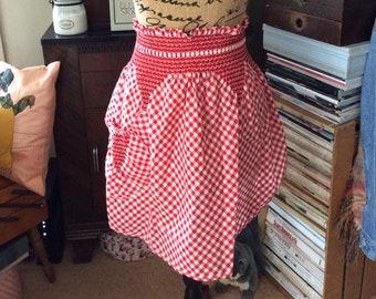 Vintage 1960s 1970s Apron Red White Gingham Cotton Adorable Kitchen Memorabilia