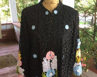 Vintage 1970s Jacket Blazer Black With Heavily Embroidered Flowers Queen Caro By Caromat Made In The Philippines Generous Size