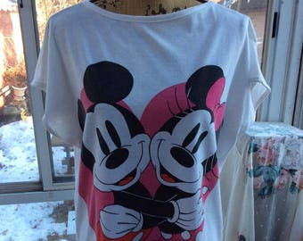 Vintage 1980s Tee Shirt Tunic Pajama Nightgown Minnie   Mickey Mouse White  Shirt With Pink Black Walt Disney Productions 3e580d7b3