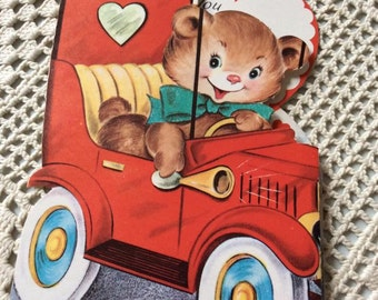 Vintage 1950s Valentine Card Teddy Bear Driving A Car Collectible Paper Ephemera Art Craft Scrap Booking