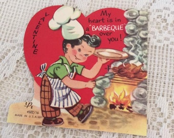 Vintage 1950s Valentine Card Man Cooking On A Barbecue Collectible Paper Ephemera Arts Crafts Scrap Booking