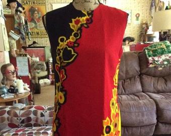 Vintage 1960s 1970s Dress Sleeveless Shift Metal Zipper Lined MOD