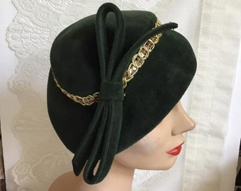 Vintage 1950's Hat Deep Dark Green With Sequins Adorning The Crown Feels Like A Soft Felt