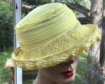 d60cee273ba Vintage 1960s Hat Cellophane Straw Yellow In Color  Spring Summer Church Wedding Guest SOLD AS IS!