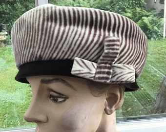656fa2f109598 Vintage 1950s 1960s Hat Faux Fake Fur Label Is  Melanie Model Beret Tam  Pill Box Style Brown And Light Beige Animal Print