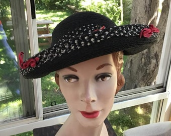 3c6a59e250cc8 Vintage 1940s Hat Black Straw Can Be Worn Halo Style Or Tilted To One Side  Adorned With Velvet Flowers Old Hollywood Style