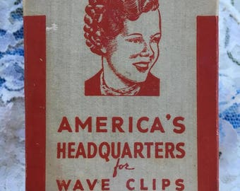 Vintage 1920s 1930s GOODY Brand Wave Clips-End Curlers-Curl Clips In Original Box Contains 7 Aluminum Clips Theater Stage Prop (INV #7)