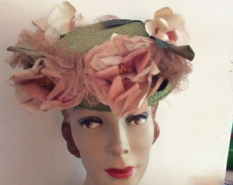 Vintage 1930s Hat Tilt Petite Doll Toy Green Pink Flowers Hat Pin