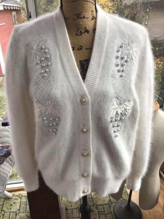 80s Cardigan Sweater Black Wool Angora Vintage S