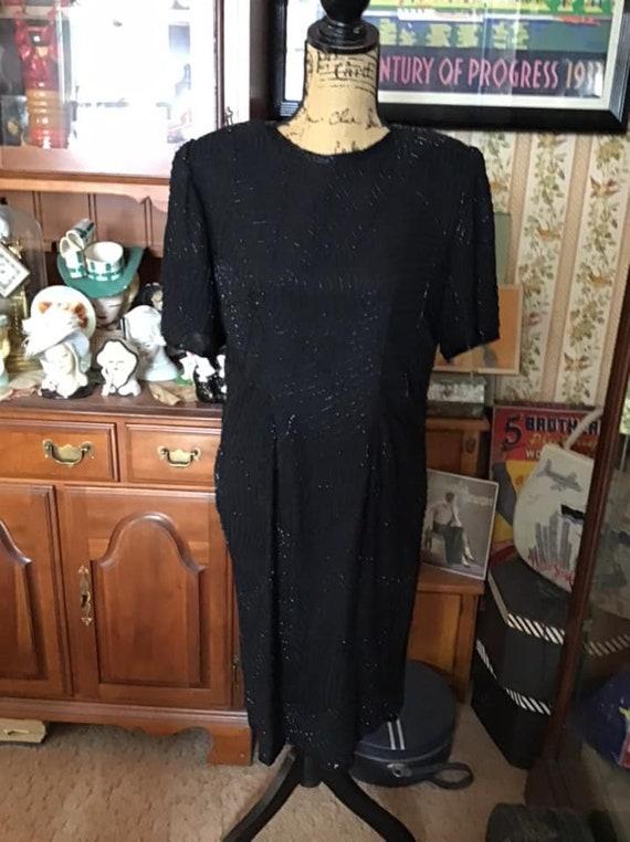 Vintage 1980's 1990's Dress Dark Black Beaded In S