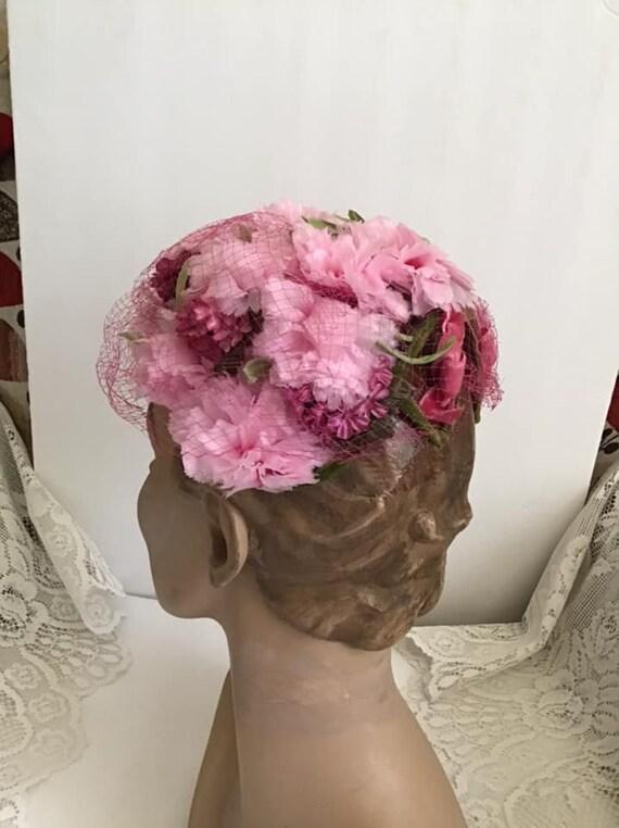 Vintage 1950's 1960's Hat Pink Floral Hat With Ve… - image 6