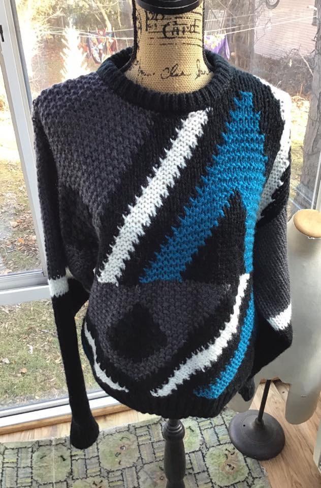 80s Sweatshirts, Sweaters, Vests | Women Vintage 1980s Sweater Forum BlackGrayDark Aqua BlueWhite 100 Acrylic Unisex Guy Gal Over SizePlus Size $36.00 AT vintagedancer.com