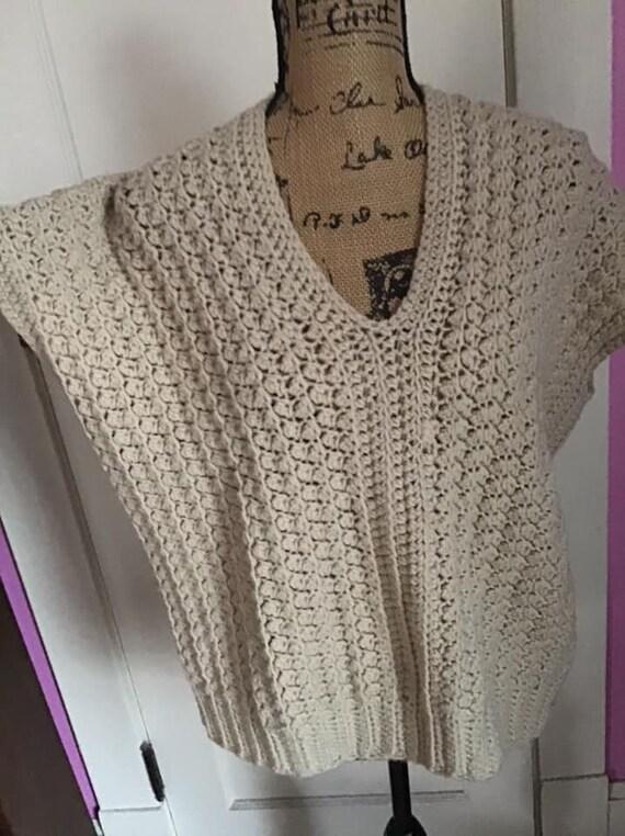 Vintage 1980's 1990's Sweater Vest Hand Knit/Croc… - image 3