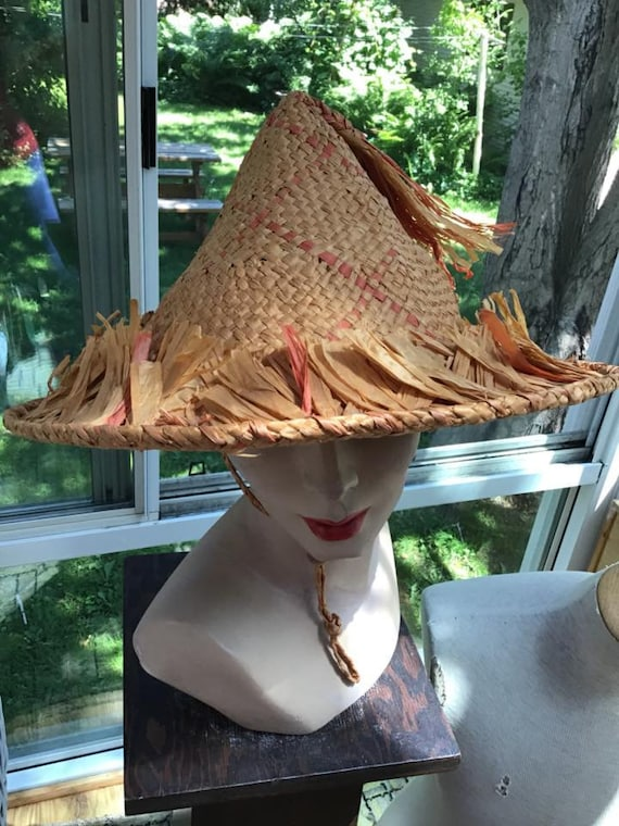Vintage 1940s 1950s Hat Straw Beach Sun Poolside H