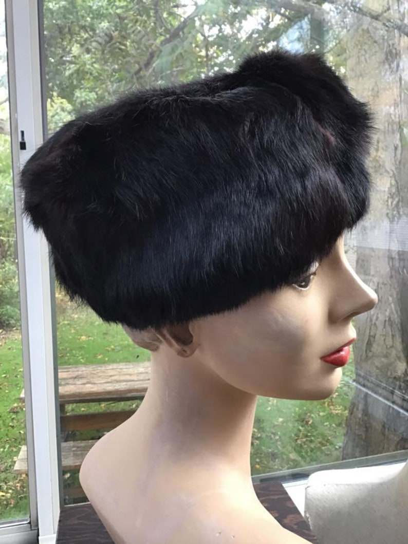 Vintage 1950s 1960s Hat Genuine Rabbit Fur Dark Shiny Black In  f2f28f94eadb