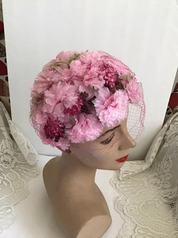 Vintage 1950's 1960's Hat Pink Floral Hat With Ve… - image 3