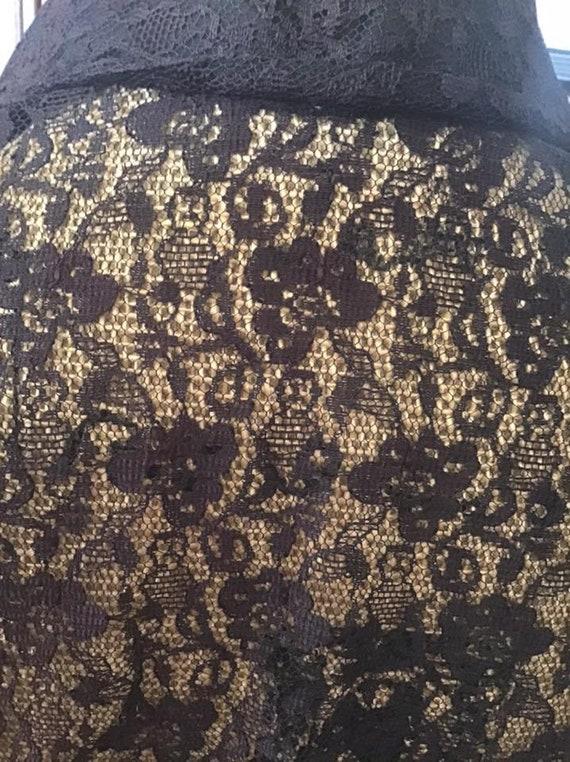 Vintage 1950's 1960's Blouse Shear Black Lace Fau… - image 2