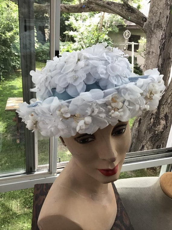 b6016d42863 Vintage 1960s Hat Milbrae Exclusives Light Blue With