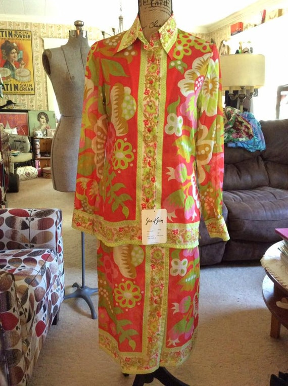 Vintage 1960s Blouse Skirt Set Deadstock With Tag