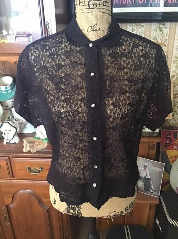 Vintage 1950's 1960's Blouse Shear Black Lace Fau… - image 4