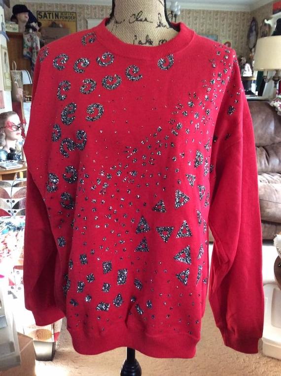 Vintage 1980s Sweatshirt True Dark Red Silver & Bl