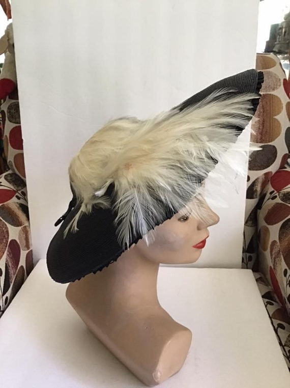 Vintage 1940's Hat Black Straw Halo Style With Off