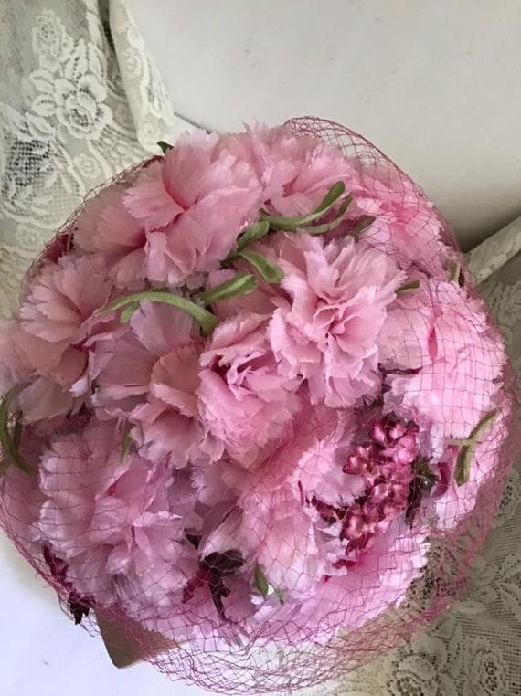 Vintage 1950's 1960's Hat Pink Floral Hat With Ve… - image 4