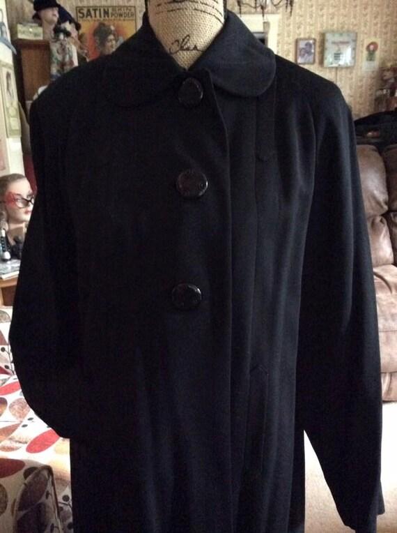 Vintage 1940s Coat Tailored Deep Dark Black 100% V