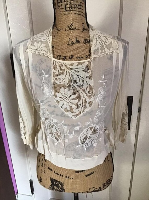 Edwardian 1920's Blouse Light Cream Sheer Silk Chi