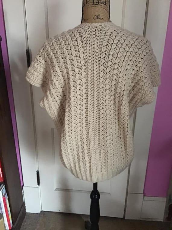 Vintage 1980's 1990's Sweater Vest Hand Knit/Croc… - image 5
