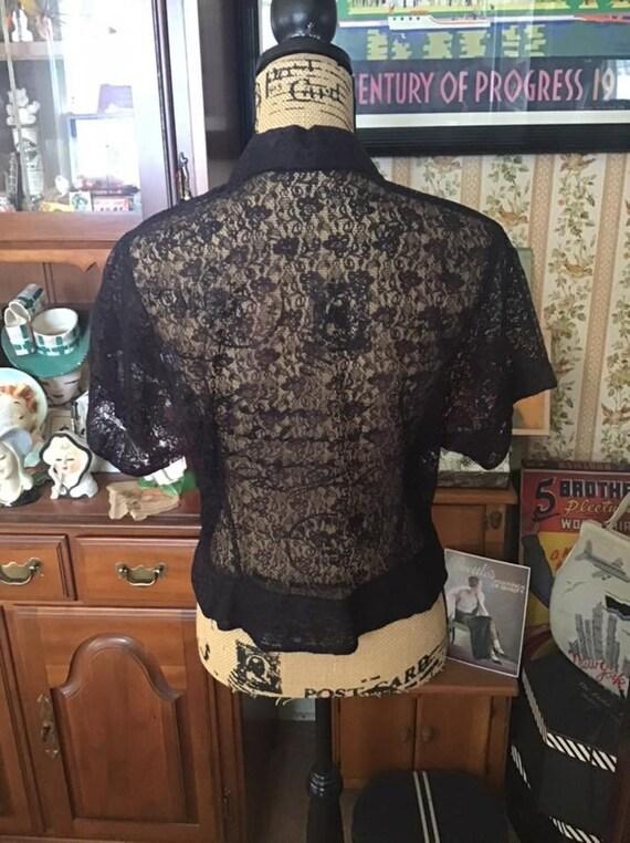 Vintage 1950's 1960's Blouse Shear Black Lace Fau… - image 5