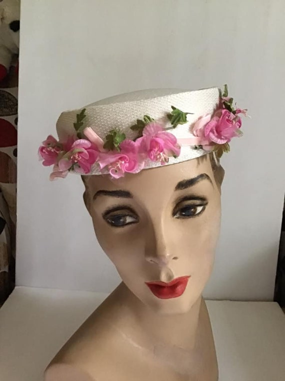 Vintage 1960's Hat Pillbox Hat White With Pink Flo