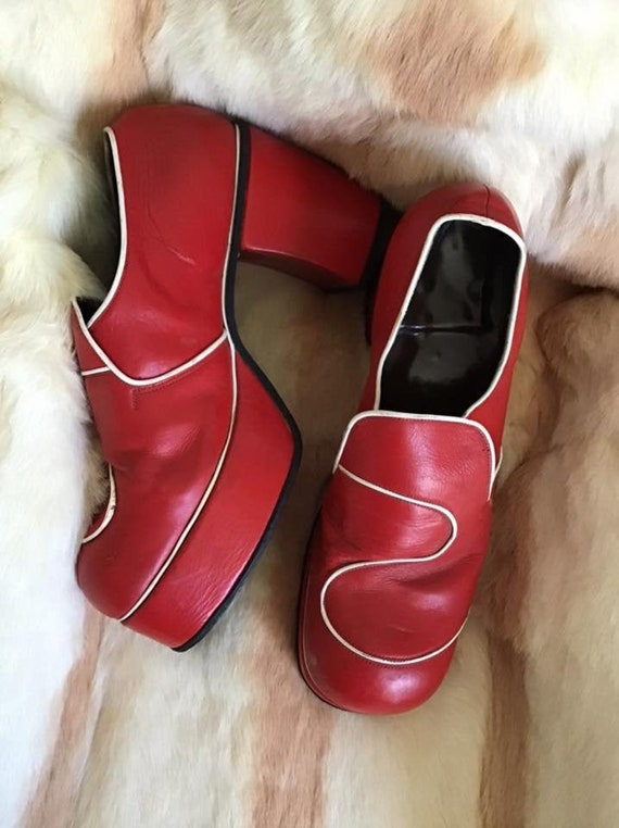 Vintage 1960's 1970's Shoes Platforms Men's Red An
