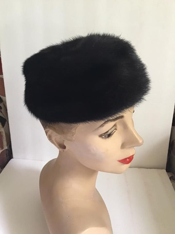 Vintage 1950's 1960's Hat Pillbox Genuine Black Mi