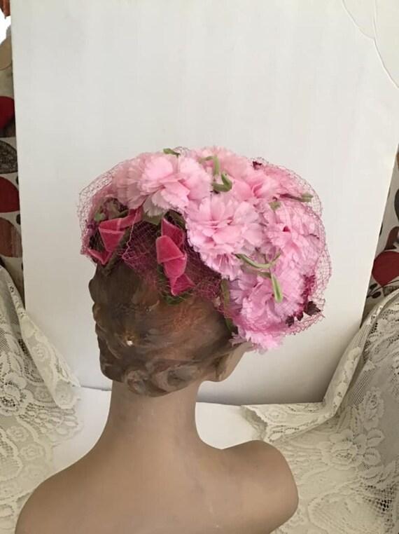 Vintage 1950's 1960's Hat Pink Floral Hat With Ve… - image 5