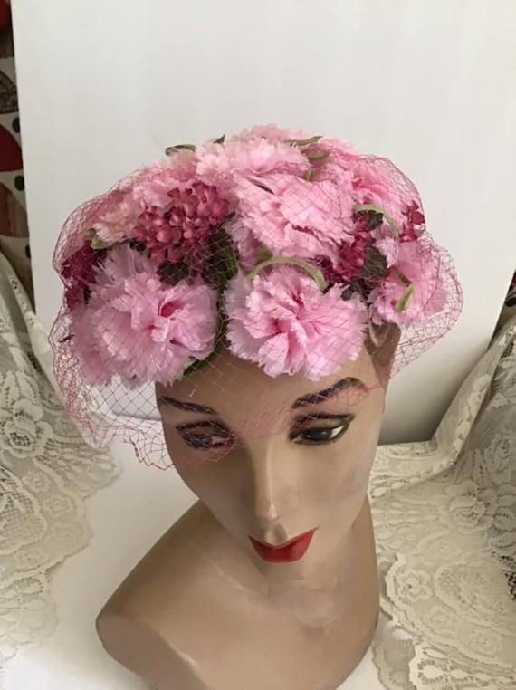 Vintage 1950's 1960's Hat Pink Floral Hat With Ve… - image 8