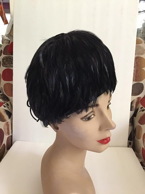 Vintage 1950's 1960's Hat Tall Black Wool With Fea