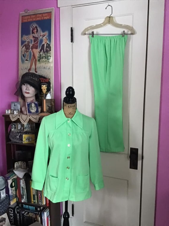 Vintage 1970's Pantsuit Ladies 2 Piece Polyester I