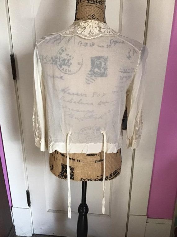 Edwardian 1920's Blouse Light Cream Sheer Silk Ch… - image 7
