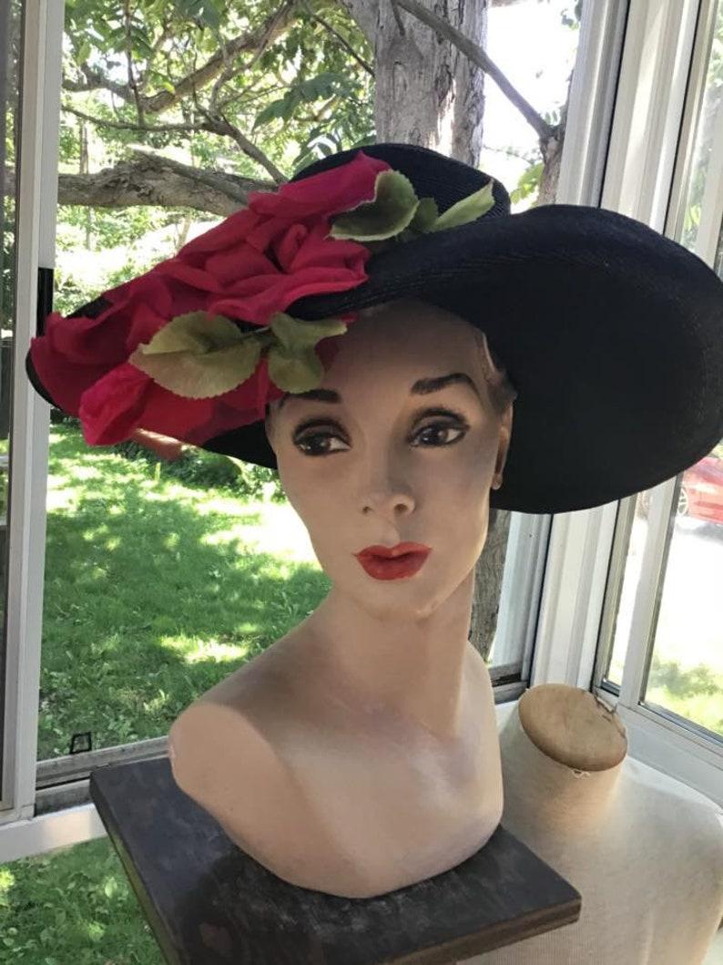 a7717139 Vintage 1940s 1950s Hat Dark Black Straw W/Floppy Brim 2 Large | Etsy