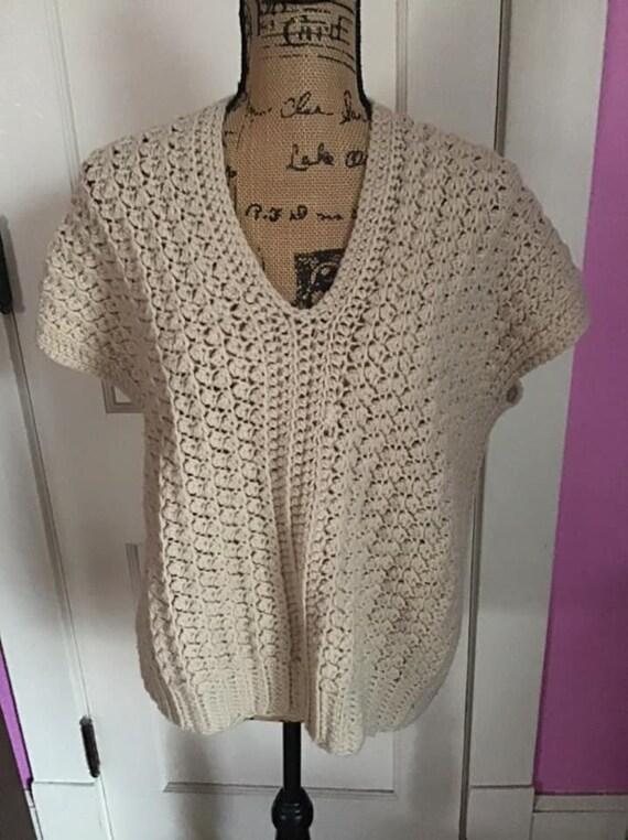 Vintage 1980's 1990's Sweater Vest Hand Knit/Croc… - image 4