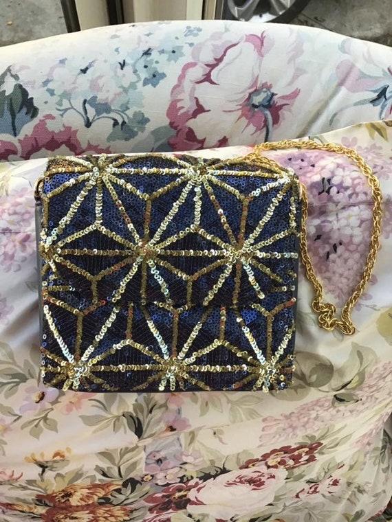 Vintage 1990s Handbag Purse Shoulder Bag Blue And