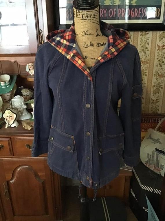Vintage 1970's Jacket Denim With Flannel Lined Hoo