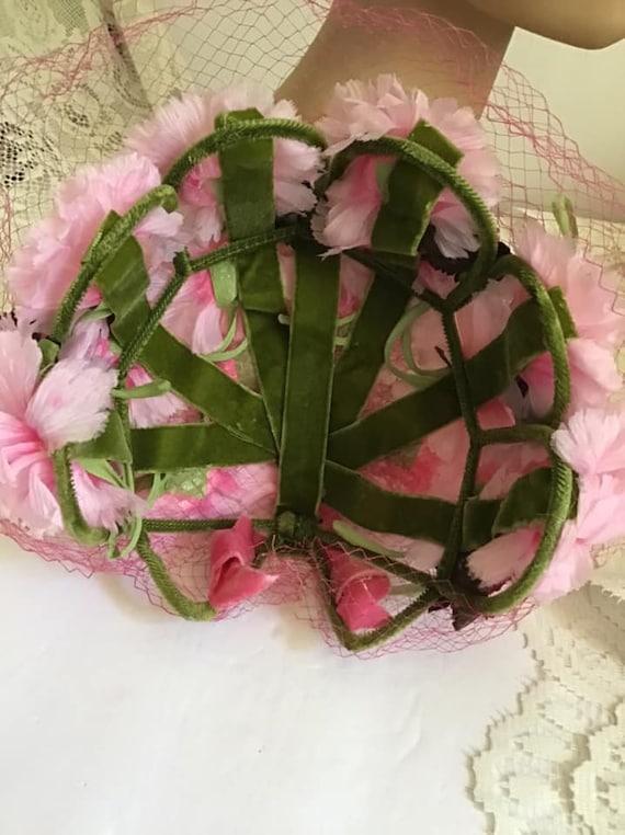 Vintage 1950's 1960's Hat Pink Floral Hat With Ve… - image 2