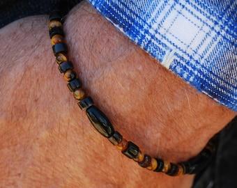 Tiger Blood - 8 Inch Handcrafted Gemstone Bracelet - Sea Shell, Horn & Tiger Eye - SGArtCA - Tribal Chic Jewelry